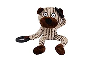 Squeak Plush Dog Toy Rubber Ring Soft and Cute Chew Toy Monkey Bull Bear Suitable for Small Medium and Large Dogs