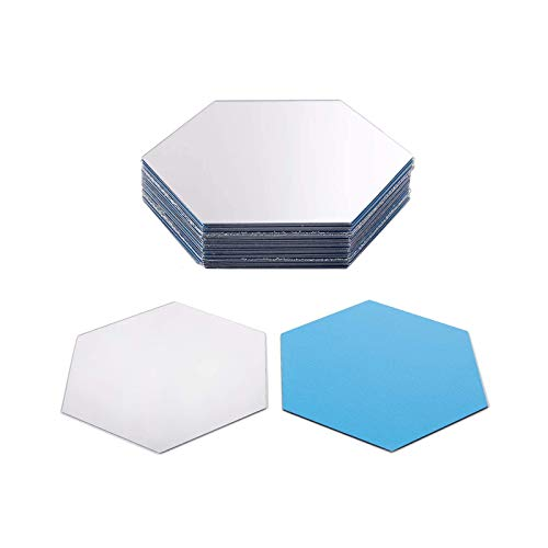 Guanici Espejo de Pared Hexagonal Autoadhesivo Espejos de Pared Adhesivo No Vidrio Espejo de Plástico Autoadhesivo Espejo Reflectante Decorativos para Oficina Hogar Sala de Estar 24 Piezas(Plata)