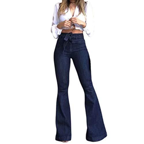 Damas De Jeans De Cintura Alta Pantalones Vaqueros Campanas Correa Moda Completi Ancha Pantalones De Pierna Otoño Moda Femenina Calle Easy Wear Jeans Pantalones (Color : Blueblack, Size : S)
