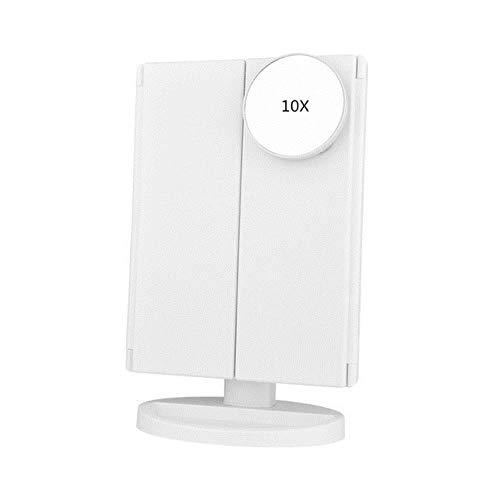22 Light Touch Screen LED Make-up spiegel Tafel Desktop Vanity1X / 2X / 3X / 10X Vergrotende spiegels 3 Opvouwbare verstelbare spiegel nieuw, wit met 10X