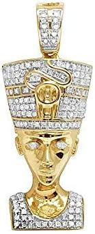 10K Yellow Gold Over Diamond Egyptian Queen Nefertiti Charm Pendant .50CT 1.3
