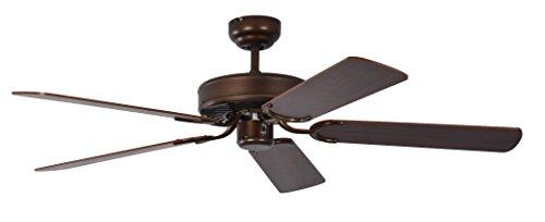Pepeo Potkuri ventilador de techo sin luz, carcasa de bronce viejo, aspas reversibles color caoba con insertos de ratán, 132 cm, para habitaciones de hasta 25 m²