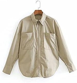 Heshaodecx Long Sleeve Tees for Women Women's Style Treble Pocket Patch Zipper Blouse Women's Top Elastic Shirt Top (Size...