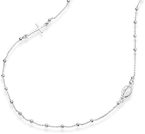Miabella 925 Sterling Silver Italian Rosary Beaded Sideways Cross Necklace Link Chain 16 18 product image