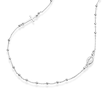 MiaBella 925 Sterling Silver Italian Rosary Beaded Sideways Cross Necklace Link Chain 16 18 22 Inch for Women Teen Girls Made in Italy  22 Inches