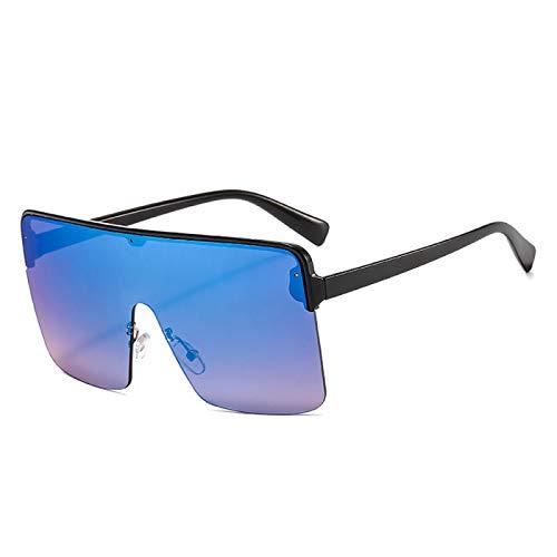 Gafas de Sol Sunglasses Gafas De Sol Cuadradas De Gran Tamao De Una Pieza para Mujer, Gafas De Sol De Marca De Lujo para Mujer, Grandes Sombras A Granel C4Blackblue