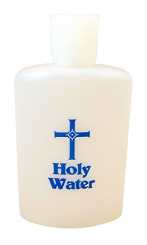 JMJ Products, LLC Frosted Holy Water Bottle with Flip Top Cap and Blue Cross Design, 4 oz