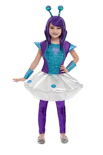 Smiffys 51042S - Disfraz de niña alienígena, talla S, color plateado