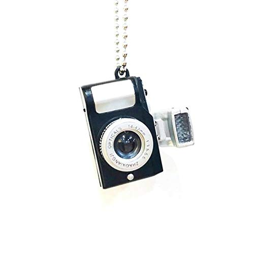 LHXMY Kamera Halskette Perle Kette Led Kamera Anhänger Halskette Für Frauen Männer Schmuck Geschenk, Bk