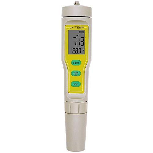 JQYTEN Probador de pH Digital 2 en 1 ATC PH-03 Medidor de pH/Temperatura LCD Acuario Piscina Segura Agua Vino Orina Probador Analizador