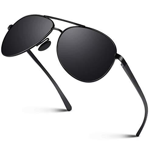 CGID Sonnenbrille Herren Pilotenbrille Polarisiert Piloten Polarisierte Sonnenbrillen Männer Pilot Verspiegelt UV400 Schutz M81 Schwarz, Cat.3, CE