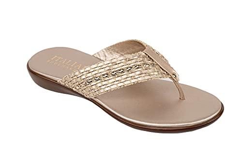 Italian Shoemakers Women s Enza Flip Flop Thong Sandal (Platinum  10)
