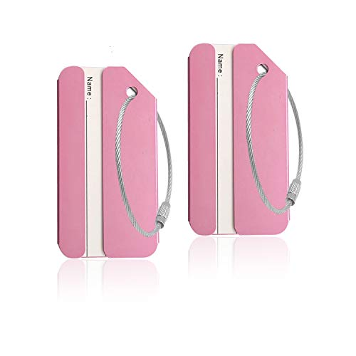 Aluminum Luggage Tag for Luggage Baggage Travel Identifier by CPACC (Pink 2 Pcs)