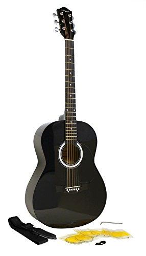 Martin Smith Akustikgitarre-Kit mit Gitarrensaiten-Gitarre Plektren Gitarrengurt schwarz