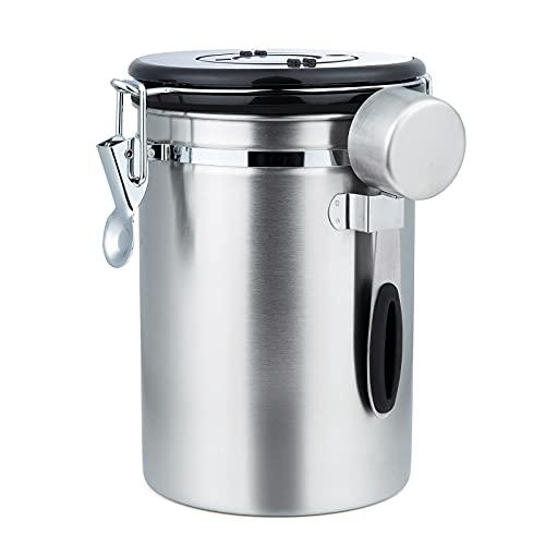 ZWOOS Bote de Café Hermético - Tarro Granos de Café con Válvula de CO2 - con Cuchara Medidora - 1,8L (Plata)