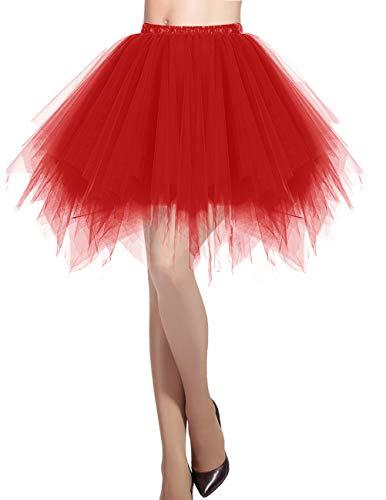 Dresstells DRESSTELLS Damen Tüllrock 50er Rockabilly Petticoat Tutu Unterrock Kurz Ballett Tanzkleid Ballkleid Abendkleid Gelegenheit Zubehör Red L