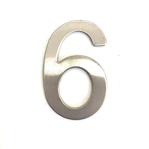 Numéro 6 de rue en acier inoxydable argenté brillant adhésif, hauteur 76 mm, numéro de maison, numéro de porte design (6)