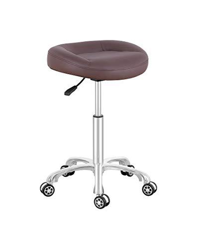 Senkelly Taburete giratorio para salón de belleza, silla con ruedas, altura de elevación neumática hidráulica ajustable para el hogar, clínica, masaje de pies, tatuaje de uñas, color marrón