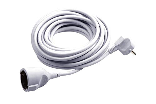 Meister Schutzkontakt-Verlängerung - 5 m Kabel - weiß - Kunststoffleitung - IP20 Innenbereich / Kupplung mit Berührungsschutz / Schuko-Verlängerung / 7432510