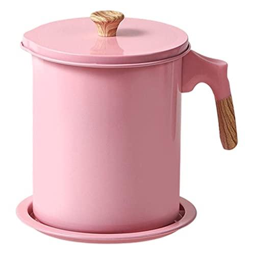 FLAMEER Recipiente de grasa de tocino con bandeja de posavasos Olla de almacenamiento Mango anti escaldado con colador Recipiente de aceite para freír en la - 1.7L rosa