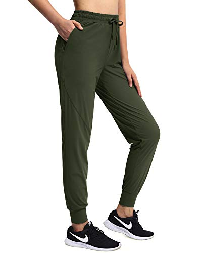 OUGES Women's Athletic Jogger Running Pants Lightweight Track Pants Tapered Pants Pocket Elastic Band Quick Dry(Olive,M)