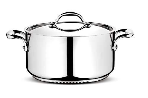 Lagostina Fondue Stielkasserolle mit 2 Griffen und Deckel Rund 18 cm Durchmesser Silber/schwarz