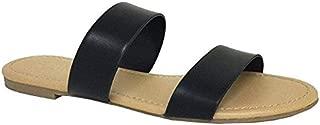 Annie Womens Double 2 Strap Sandal Low Flat Heel Slip On Slide