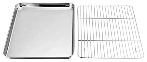 JITUO Baking Tray W/Cooling Rack Set Non-Stick Stainless Steel Oven Pan W/Mirror Finish Safe Baking Sheet for Bacon Crispy Toast French Fries Chicken Nuggets Cakes (Size : 40x30x2.5)