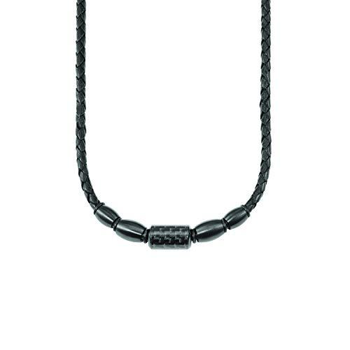 s.Oliver Halskette für Herren aus Leder und Edelstahl