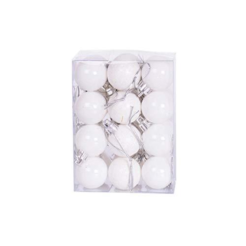 NiSeng Bolas Arbol Navidad Bola de Plastico Decoracion Arbol de Navidad Manualidades Adornos Navideños para Arbol,Regalos de Colgantes de Navidad F Blanco (24 Piezas) 3 * 4.5 cm
