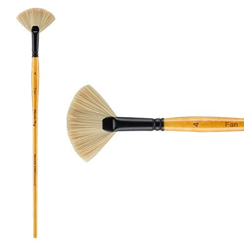 Creative Mark Mimik Paint Brush Professional Artist Synthetic Hog Bristle Long Handled Brush- Fan Size 4