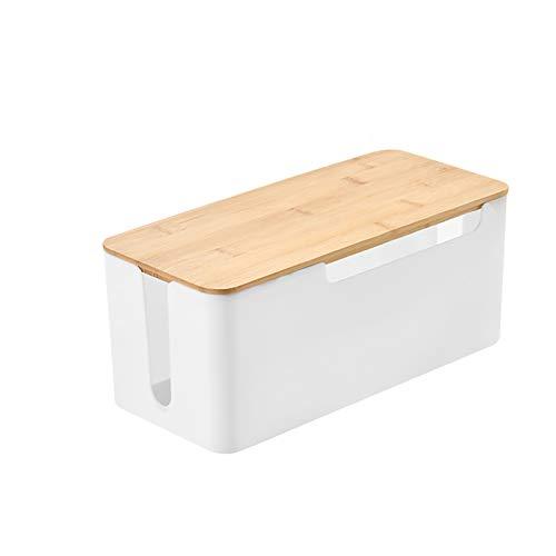 ZJHCC Kabel Organizer zum,Kabelbox,Kabelmanagement,Aufbewahrungsbox aus Draht mit Holzdeckel,Deckel aus Bambusbox mit Wärmeableitungslöchern unten (Zwei Spezifikationen sind verfügbar)