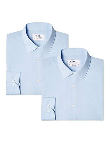 find. - 2 Pack Slim Shirt, Camicia formale Uomo, Blu (Blue/ Blue), 44 cm, Label: 3XL