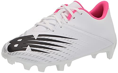 New Balance Boy's Furon Dispatch FG V6 Soccer Shoe, White/Silver/Alpha Pink, 13 Wide Little Kid