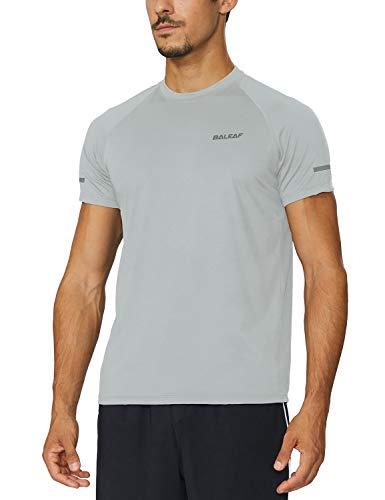 BALEAF Men's Quick Dry Short Sleeve T-Shirt Running Workout Shirts Silver Size L