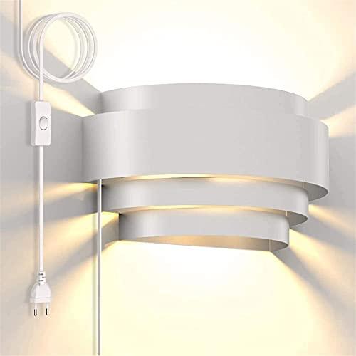 Iluminación de la pared Enchufe moderno en la pared Aplique con interruptor de encendido/apagado, arriba de la pared de la pared blanca caliente 7W LED Lámpara de pared de sombra de hierro para sala