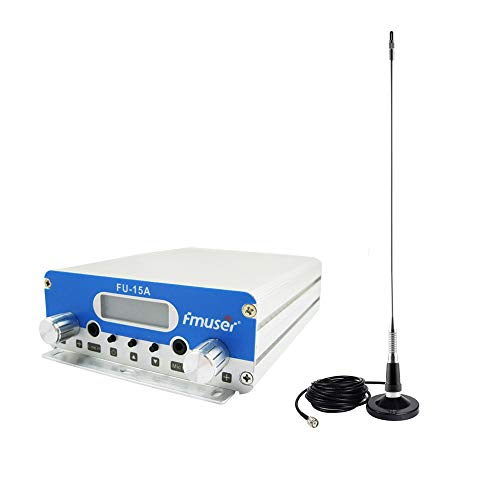 FMUSER CZH FU-15A 1W/15W Transmitter PLL FM Long Range Radio Broadcast Stereo Station Two Power Levels Wireless+CA200 Car Suck Antenna for Tourism, Racing, School, Meetings