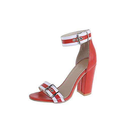Mujer Tacon de Aguja Punta Abierta Verano Zapatos Hebilla Sandalias Mujer Sandalia Moda Correa de Tobillo Talones