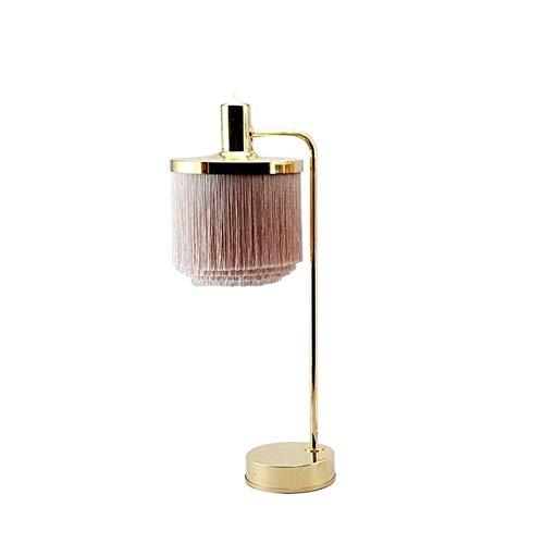 JJZXD Lámpara de Mesa LED Rosa con Flecos Princesa habitación alumbramientos Creativo borlas Decorar Hierro