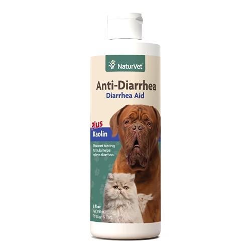 NaturVet Anti-Diarrhea Liquid Pet Supplement Plus Kaolin – Helps Alleviate Discomfort  Cramping  Irritation From Diarrhea for Dogs  Cats – Great Taste – 8 Oz.