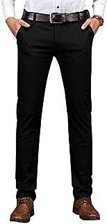 Plaid&Plain Men's Slim Fit Khaki Pants Men's Tapered Chino Pants