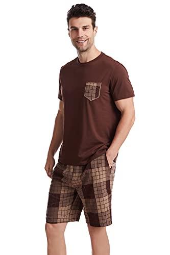 Ueither Conjunto de Pijamas para Hombres Verano Camiseta de Manga Corta y Pantalones Cortos Ropa de salón
