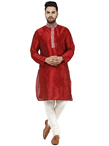 SKAVIJ Men's Tunic Art Silk Kurta Pajama Set for Summer Wedding Party Dress (Large, Red)