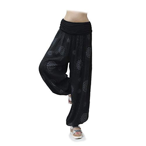 Glamexx24 Damen XXL Leichte Pumphose Haremshose Freizeithose Sommerhose Hose mit vielen Muster 13090, Kreis-schwarz, XL/XXXL