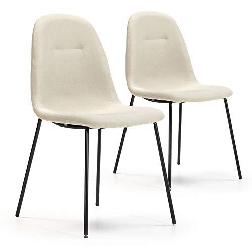 VS Venta-stock Set de 2 sillas Comedor Brenda tapizadas Beige, certificada por la SGS, 44 cm (Ancho) x 54 cm (Profundo) x 85 cm (Alto)