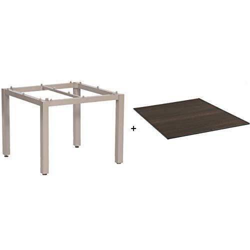 Sonnenpartner Gartentisch Base 90 x 90 cm Alu-Gestell Champagner Tischsystem Compact HPL Pinie-dunkel