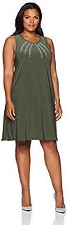 Star Vixen Women's Plus-Size Slvls A-line Dress W Silver Stud Yoke