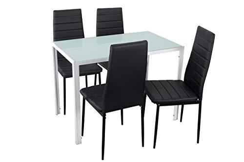 Noorsk Design Conjunto de Mesa de Cocina 105x60 + 4 sillas Clasik (Sillas Negras)