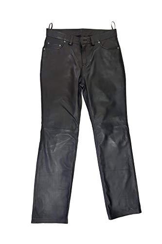 The Black Rose - Lederhose Herren lang - Model Dylan - Lederjeans 501 Tube Röhre Skinny Slim Fit Schwarz mit Reisverschluss, Schwarz, 38