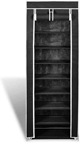 Yby modern Gabinete de Zapatos 8 Gabinete de Zapatos de Tela para la Cubierta del Dormitorio del Corredor 162 x 57 x 29 cm,Black
